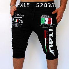 Hombre Activo   Básico Algodón Holgado   Pantalones de Deporte Pantalones -  Letra Estampado Negro   Deportes   Fin de semana 6256fce5f4d8