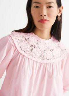 Voluminous Crochet Collar Blouse - Pink - Blouses - & Other Stories GB