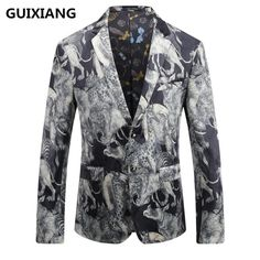 GUIXIANG 2017 autumn Men's single breasted Italian style printed velveteen casual blazer men blazers mens high quality jackets #Affiliate