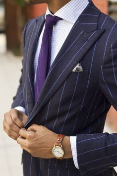 Men's Navy Vertical Striped Blazer, White Dress Shirt, Purple Tie, White and Navy Polka Dot Pocket Square Foto Fashion, Fashion Mode, Suit Fashion, Mens Fashion, Fashion News, Style Gentleman, Gentleman Mode, Mode Masculine, Sharp Dressed Man