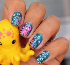 cartoon pink Nail Art Octopus by Lizananails