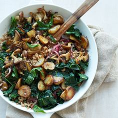 Farro Hash 3/4 cup farro 2 1/2 pounds large sunchokes, peeled and cut into 2-inch pieces Salt 1 pound Tuscan kale, tough stems discarded 3 tablespoons extra-virgin olive oil blended with 3 tablespoons of vegetable oil 1 small red onion, sliced 1/4 inch thick 1 tablespoon unsalted butter 1/2 pound oyster mushrooms, halved if large Freshly ground pepper