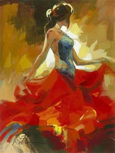 Anatoly Metlan was so entranced by the flamenco performances he saw that he developed a new painting style in order to properly convey the dramatic and expressive movements of the dancers. He traded his paintbrush for a palette knife, using large strokes Dance Paintings, Cool Paintings, West Art, Dance Art, Figure Painting, Indian Art, Figurative Art, Love Art, Female Art