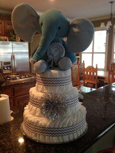 Grey Chevron Diaper Cake
