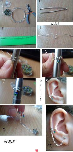DIY Beads Earcuff diy crafts craft ideas easy crafts diy ideas crafty easy diy diy jewelry jewelry diy diy earrings craft ear cuffs must make these look like elf ears Ear Jewelry, Cute Jewelry, Beaded Jewelry, Jewelry Making, Jewellery, Handmade Wire Jewelry, Wire Wrapped Jewelry, Wire Crafts, Jewelry Crafts
