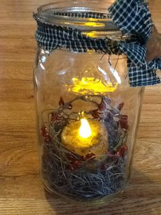 Large Country Chic Mason Jar Lantern