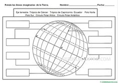 Meridianos y paralelos-Actividades Geography Worksheets, Geography Activities, Teaching Geography, Vocabulary Worksheets, Middle School Classroom, School Fun, Structure Of The Earth, Material Didático, Teaching Social Studies