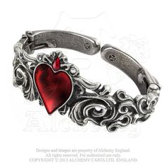 Alchemy Gothic Betrothal Gothic sacred heart bracelet with blood red heart