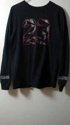 Nike Air Jordan Fashion Confetti Print #23 Long Sleeve Blk/Red/Grey Sz L EUC Men #Jordan #ShirtsTops