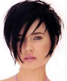 Short dark hair style