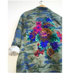 Embroidered camo jacket . Ellie mac Embroidery. #elliemacembroidery