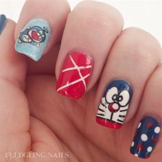 Cute Doraemon Nails by fledglingnails from Nail Art Gallery