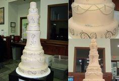 """Bolo de casamento do """" Dallas Birdal Fair """" criado por Delicious Cake  , decorado com diamantes . Custo de 1 milhão de dolares ."""