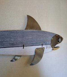 Shark Fish Sculpture W Wood Shark Fishing Fishing lure beach decor fisherman gift fish art great white shark maco shark shark tooth Shark Shark, Shark Tooth, Fish Wall Art, Fish Art, Steampunk Theme, Fisherman Gifts, Fish Sculpture, Great White Shark, Fish Design
