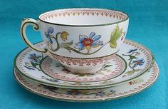 Rare antique Coalport Flower pot trio tea cup, side and saucer