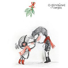 Sweet illustrations by Genevieve Santos Couple Illustration, Christmas Illustration, Illustration Art, Sweet Drawings, Cute Couple Drawings, Sketches Of Love, Drawing Sketches, Drawing Style, Couple Cartoon