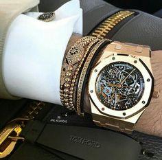 Men's #BlackandGold Watch, Bracelets, and Cufflinks   Boss Status