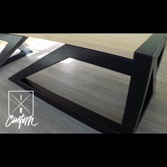 A desk built for a Spy🔎…. A quick look at this modern executive desk inside the new location that is almost finshed! 💯📍 steel base was fabricated on the table from + powder coated satin black by × the solid maple desktop was finished[. Wood And Metal Desk, Modern Wood Desk, Modern Office Desk, Metal Desks, Office Furniture Design, Decor Interior Design, Modern Executive Desk, Industrial Style Furniture, Custom Desk