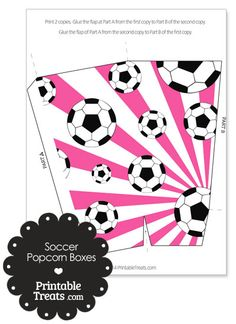 Pink Sunburst Soccer Popcorn Boxes from PrintableTreats.com