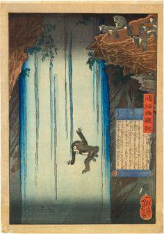Tsukioka Yoshitoshi (1839-1892): A Modern Journey to the West: Sun Wukong Plunges Down a Waterfall, woodblock print, 1864.