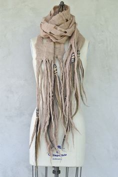 Capi Scarf with Brown & Silver Horsehair Tassels