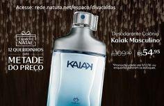 12 Queridinhos com 50% OFF, pela Metade do Preço!  Compre online o Kaiak masculino na Rede Natura Diva Caldas.  Desodorante Colônia Kaiak Masculino com Cartucho - 100ml de: R$ 109,90 por: R$ 54,95 http://rede.natura.net/espaco/divacaldas/desodorante-colonia-kaiak-masculino-com-cartucho-100ml-22560?_requestid=3283280  Confira todos os produtos desta promoção http://rede.natura.net/espaco/divacaldas/promocoes-12?_requestid=3282437  Promoção válida até 11/dez ou enquanto durarem os estoqu
