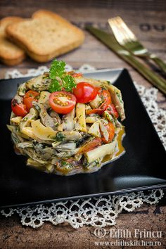 mushrooms and cherry tomatoes hot salad