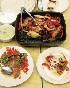 chicken fajitas with home-made guacamole and salsa