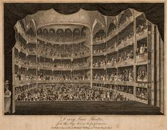 Engraving, from stage looking into the auditorium: Isaac Taylor, Drury Lane Theatre (London: Richard Phillips, 1804). RCM Centre for Performance History, 88E2