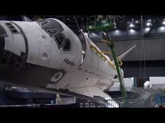 Space shuttle Atlantis payload bay opened for display