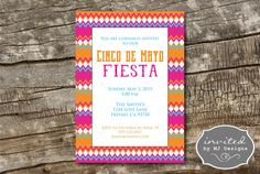 Cinco de Mayo Fiesta, 5x7 Invitations - DIGITAL DOWNLOAD or PRINT & SHIP!  Celebrate your fiesta with these colorful invitations! All of the text shown is fully customizable! Different fiesta themed backgrounds available!  IF YOU HAVE A QUESTION, PLEASE ASK PRIOR TO ORDERING!  --------HOW TO ORDER--------  1. Purchase this item listing by adding it to your cart and check out. Etsy will send you an email confirming your order.  2. Leave the following information in the Note to Seller secti...