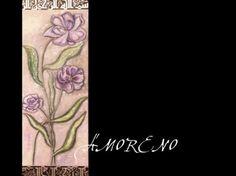 Cuadro con flores sobre madera, pintado con oleos de 1.60 x 50 cms.