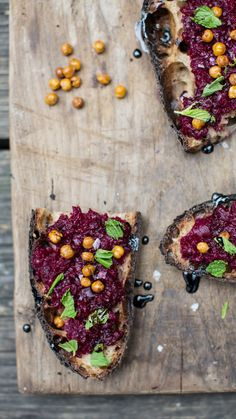 smashed beet, crispy chickpea + mint crostini