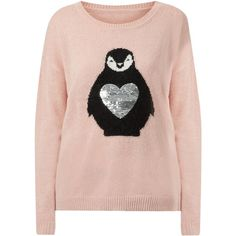 New Look Brave Soul Pink Sequin Penguin Heart Jumper ($14) ❤ liked on Polyvore featuring tops, sweaters, shell pink, pink top, sequin heart top, pink sequin top, pink sequin sweater and christmas tops