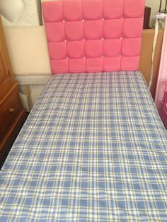 Single Divan Bed 3ft Complete With Pink Diamanté Headboard