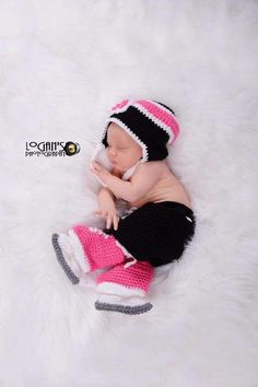A personal favorite from my Etsy shop https://www.etsy.com/ca/listing/247501651/baby-girl-crochet-hockey-set-black-pink