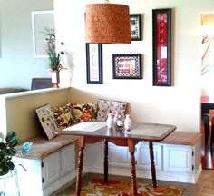 Banquette seating with half wall