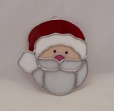 Handmade Stained Glass Christmas Santa Ornament / Suncatcher