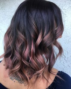 Burgundy rose gold balayage ombré hair