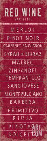 Wine Varieties III Reproduction d'art