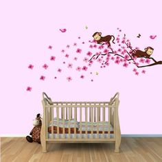 Girl Monkey Wall Decal with Cherry Blossom Tree Branch for Baby Nursery or Kid's Room by Vinyl Inspirations, http://www.amazon.com/dp/B00A824CRC/ref=cm_sw_r_pi_dp_SbrQqb0VE58DA