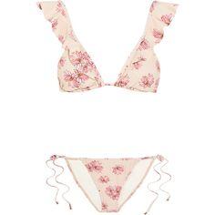 Eberjey Flying Lotus ruffled floral-print triangle bikini (3,835 EGP) ❤ liked on Polyvore featuring swimwear, bikinis, bikini, bathing suits, swimsuit, floral-print bikinis, floral swimsuit, bikini swimsuit, ruffle swimsuit and triangle swimsuit