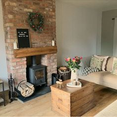 Handmade Home Decor For Your Own Personal Touch – DecorativeAllure Cottage Living Rooms, Home And Living, Living Room Decor, Modern Living, Garden Living, Dining Room, Wood Stove Decor, Wood Burner Fireplace, Fireplace Hearth