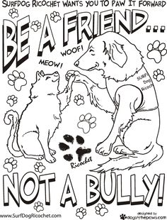 Anti Bullying Coloring Pages Surf Dog Ricochet