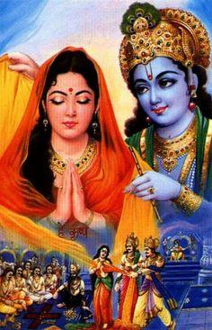 Krishna saves Draupadi