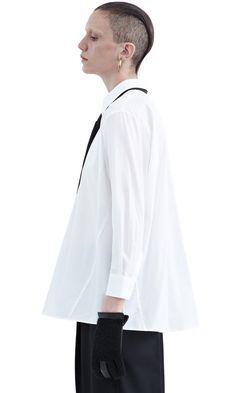 Corlette poplin white cotton shirt with detachable silk tie #AcneStudios #PF15