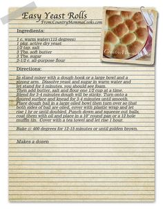 Country Momma Cooks: Easy Yeast Rolls Country Momma Cooks: Easy Yeast Rolls The . - All Home Recipes / tried n true - Homemade Bread Easy Yeast Rolls, Bread Rolls, Easy Rolls, Homemade Yeast Rolls, Homemade Food, Homemade Dinner Rolls, Dinner Rolls Recipe, Biscuit Bread, Biscuit Recipe