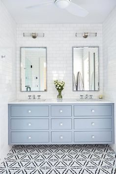 Looking for Bathroom and Double Vanity Bathroom ideas? Browse Bathroom and Double Vanity Bathroom images for decor, layout, furniture, and storage inspiration from HGTV. Double Sink Bathroom, Modern Bathroom, Small Bathrooms, Double Sinks, Minimal Bathroom, Double Sink Vanity, White Bathrooms, Marble Bathrooms, Downstairs Bathroom