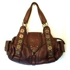 fa25b921ed2 Cole Haan Village Pailette Pocket Satchel F05 Leather Brass Stud Shoulder  Bag #ColeHaan #ShoulderBag