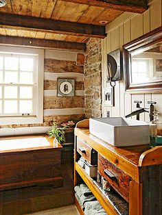 painted wood, country bathrooms, log cabins, bathroom designs, bathroom ideas, bathroom sinks, cabin chic, cabin bathroom, cottage bathrooms
